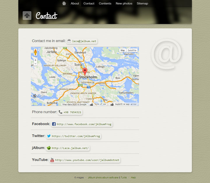 Custom Pages Contact Page